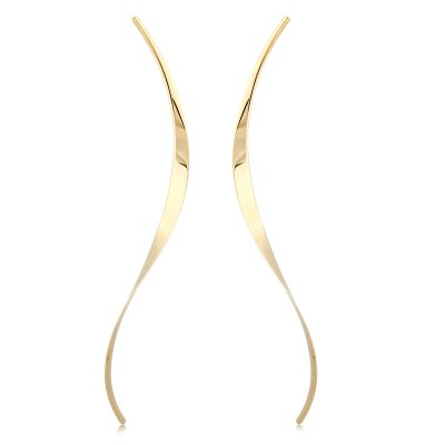 Elongated curve earrings on post, 14k yellow gold