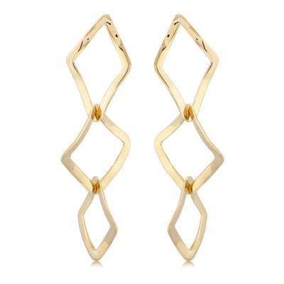 Interlocking wavy open diamond shape drop earrings, 14k yellow gold