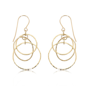 Interlocking hammered open circle drop earrings on eurowire, 14k yellow gold