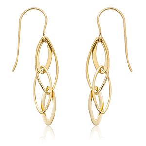 Interlocking open almond shaped drop earrings on eurowire, 14k yellow gold