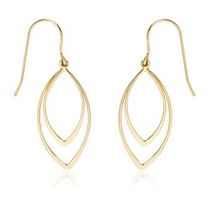Double open pointed drop earrings on eurowire, 14k yellow gold