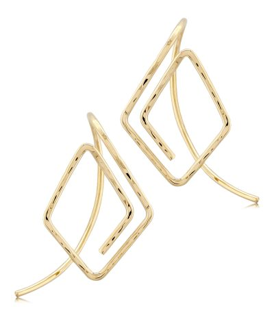 Endless Hammered open diamond shaped off the ear earrings, 14k yellow gold