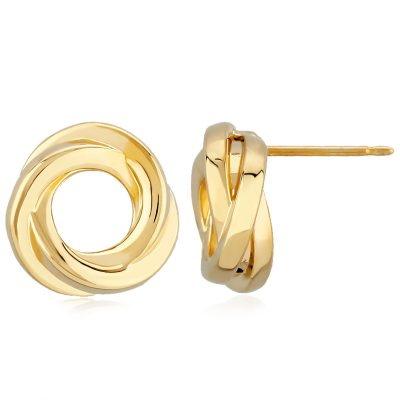 Circle Tube knot post earrings, 14k yellow gold