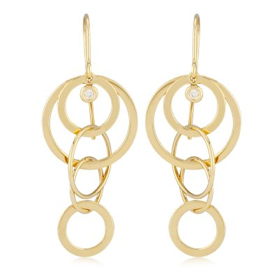 Cascading circles drop earrings on eurwire with accenting diamond, 2 diamonds totaling .06ct, 14k yellow gold