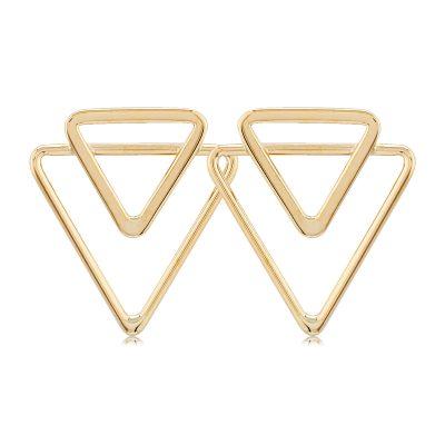 Double open triangle post earrings, 14k yellow gold
