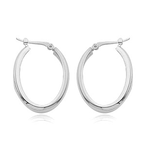 14k White Gold High Polish Oblong Hoop Earrings-20mm in length and 3.5mm wide