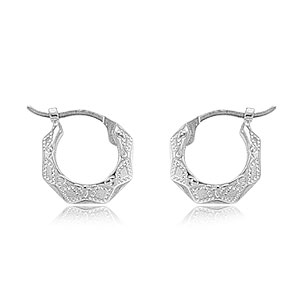 14k White Gold Diamond Cut Embossed Small 3mm wide Hoop Earrings on Hinge Posts-12 mm Outter Diameter