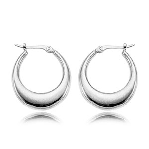 14k White Gold Small Oblong Smooth Tapered Hoop Earrings on Hinge-20mm in Length and 3.2mm at widest section