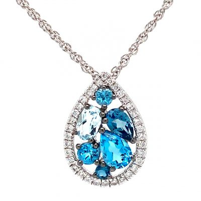 Pear Shape pendant with Swiss, London and Sky Blue Topaz set in cluster in center surrounded by round accenting diamonds totaling .15ct GH SI2, 14k white gold 18 inch rope chain with lobster clasp