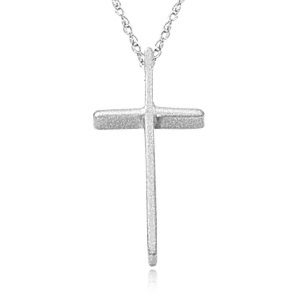 Small Swedged cross on 18 inch chain, 14k white gold