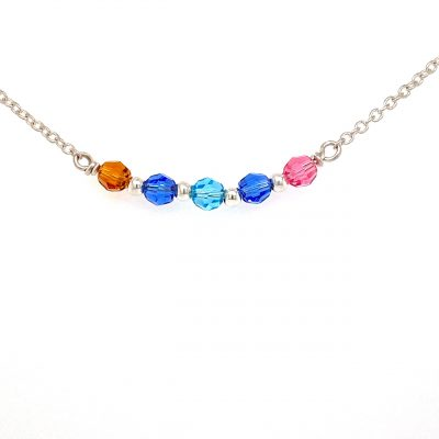 Sterling silver 18 inch chain with center section of swarovski crystals for each birth month. Each crystal is an additional $7