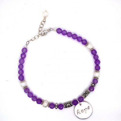Sterling Silver Bracelet of Hope with round purple dyed Jade gemstones and accenting freshwater pearls spaced throughout, adjustable length up to 8 inches, Hope sterling silver disc charm in the center