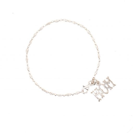 Mom Charm pairs with Officina Bernardi Sparkle brackelet- 2mm single row diamond cut beaded bracelet with round and oval beads at every other, sterling silver with Rhodium, Officina Berndari