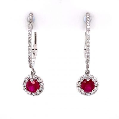 4.25mm Round Ruby Earrings with halo of diamonds surrounding the Ruby that dangles of diamond lined hoops, all diamonds totaling .33ct, GH SI2, 14k white gold