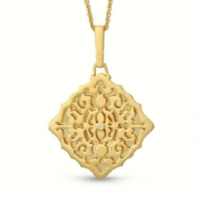 Mimi With You square lacy filigree locket necklace with round accenting diamond in the center, sterling silver with yellow gold plating, double chain