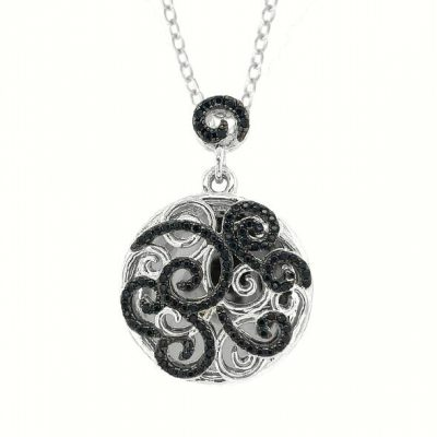Circle Miriam With You Locket with swirls of black spinel and white topaz, 18 inches, sterling silver