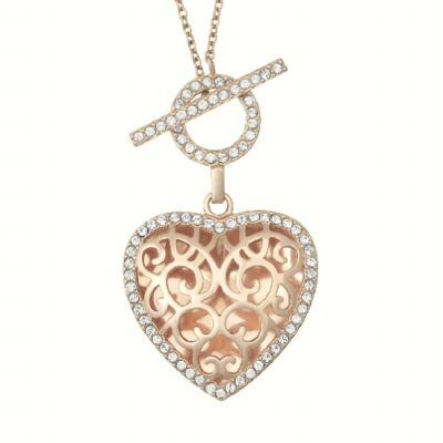 With You Clara Heart Locket with filigree open design surrounded by round accenting White Topaz around the edges, open circle of White Topaz above for front toggle closure, sterling silver with Rose Gold Overlay, 20 inches