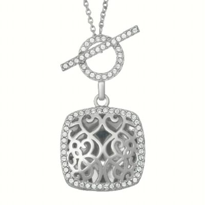 With you Square locket filigree pendant with round accenting White Topaz surrounding the outside and open circle of White Topaz above for toggle clasp front closure, sterling silver, 18 inches