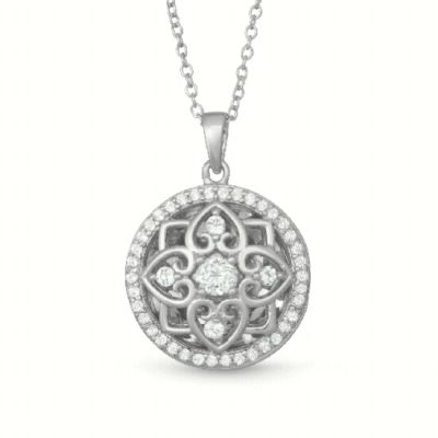 Circle Filigree Elsie With You Locket with round accenting White Topaz surrounding the locket, sterling silver on 18 inch chain
