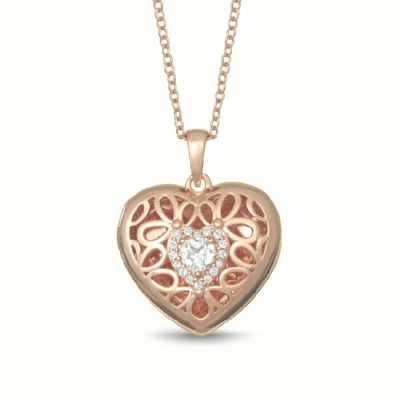 Heart Katherine filigree Locket necklace with white topaz heart in the center surrounded by round accenting white topaz, sterling silver with rose gold overlay, 18 inches