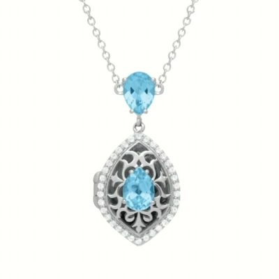 Sadie With You Locket necklace with marquise shape of filigree silver and teardrip sky blue topaz in the center of the locket and above and round accenting white topaz surrounding the outter edges, 18 inches, sterling silver