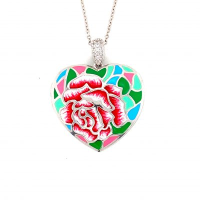Sonia Locket Heart necklace with hand painted pink green and blue enamel flowers, sterling silver 18 inches, white topaz in the bale