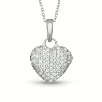 Pave heart Carly locket with white topaz stones, With You Locket 18 inches