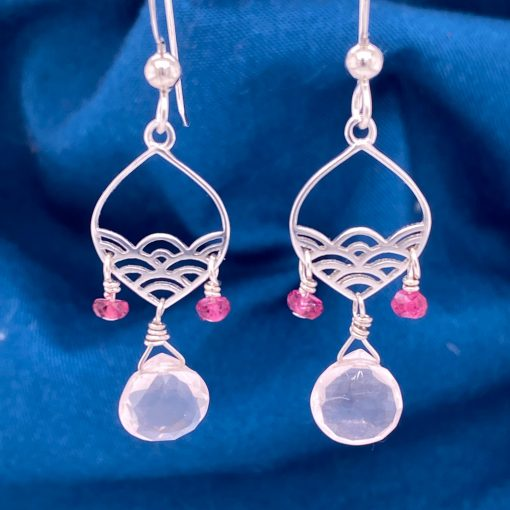 Calm Seas teardrop sterling silver earrings with 7mm Rose Quartz flat briolette below and 2 accenting 3mm Pink Tourmaline faceted beads on eurowires