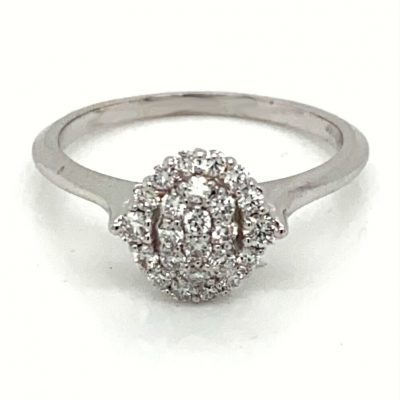 Oval Pave set ring with .33ct round GH SI2 diamonds, 14k white gold