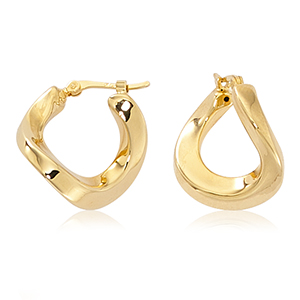 Medium curved twisted hoop earrings with hinged post, 14k yellow gold