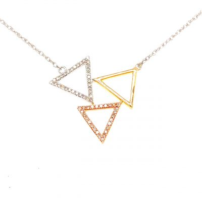 Triple open triangle in the center of 18 inch light rope chain, one triangle 14k white gold lined with accenting diamonds, one 14k rose gold lined with accenting diamonds, and one smooth 14k yellow gold, all diamonds totaling .20ct GH SI3