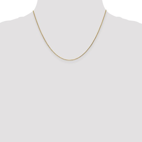 14k Yellow Gold 18 inch Diamond Cut Cable chain with Lobster Clasp