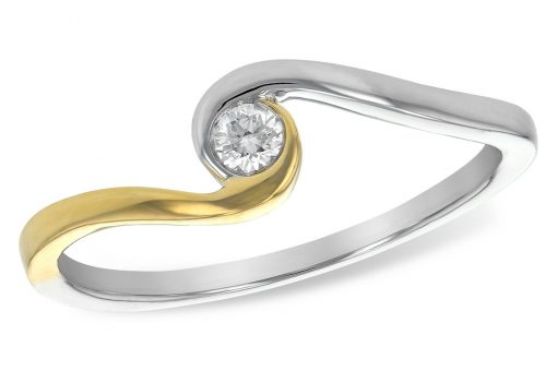 Two swirls of 14k gold, one in yellow, the other in white, embrace a brilliant center round diamond in this petite ring that fits flush to the finger. The diamond weighs .07 carat . Color grade is G-H and clarity grade is SI2