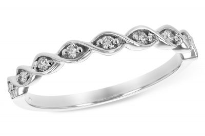 This Diamond Ring has the look of braided 14k white gold with 9 brilliant round Diamonds totaling .12 carat, Diamonds are G-H in color grade and SI2 in clarity grade. Stack this band with other rings in different colors and shapes. This version is 14k white gold and can be special ordered in yellow gold or rose gold.