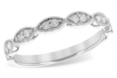 Scalloped diamond band with 12 round brilliant diamonds, two in each marquise shaped frame. Each section is bordered in a millgrain beaded edge for a vintage look. Total diamond weight is .14 carat, bright white G Color grade, SI1/SI2 Clarity grade. 14k white gold