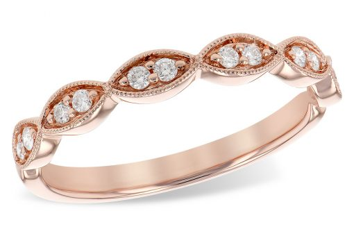 14k Rose Gold Scalloped diamond band with 12 round brilliant diamonds, two in each marquise shaped frame. Each section is bordered in a millgrain beaded edge for a vintage look. Total diamond weight is .14 carat, bright white G Color grade, SI1/SI2 Clarity grade
