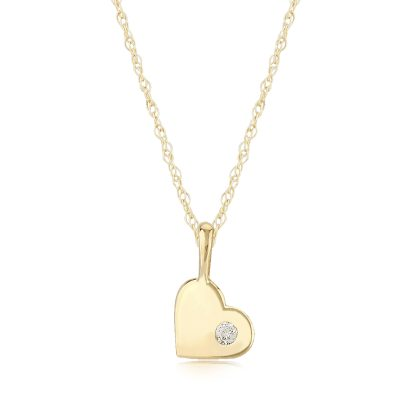 Mini heart charm pendant with .03 carat diamond accent in the heart on 14k yellow gold 18 inch light rope chain with spring ring clasp. This sweet little heart pendant make the perfect gift.