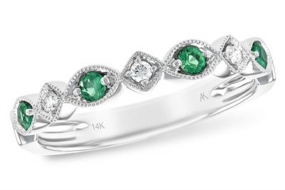 14k White Gold Emerald and diamond scalloped band with 4 round emeralds set every other with 3 brilliant cut diamonds, each with a beaded milgrain edging for a subtle vintage flare. Emeralds total .15ct, diamonds total .06ct, G Color SI1/SI2 clarity,