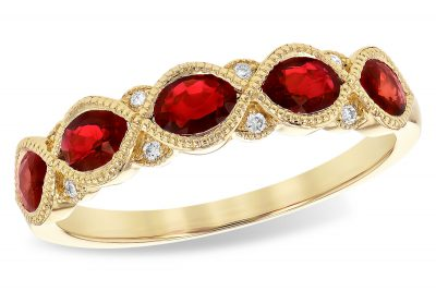 14k yellow gold Band with 5 oval rubies all set in a row and totaling 1.0ct and 8 diamond accents totaling .04ct, G Color SI1/SI2 Clarity,