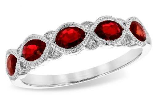 14k White Gold Band with 5 oval rubies all set in a row and totaling 1.0ct and 8 diamond accents totaling .04ct, G Color SI1/SI2 Clarity