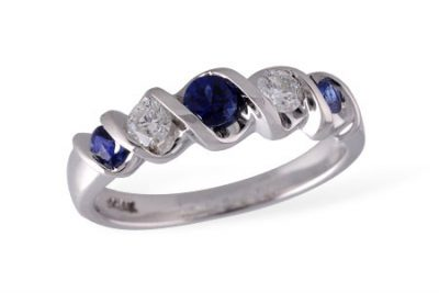 Sapphire and diamond ribbon band with 3 round sapphires totaling .34ct set every other with 2 round GH Color, SI2 clarity diamonds totaling .24ct, 14k white gold