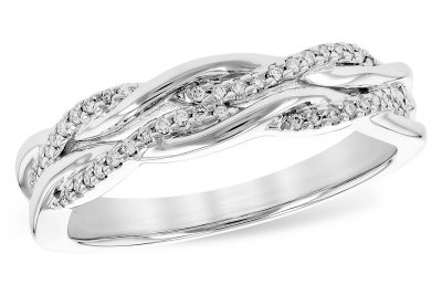 14k white gold Band with double twisted row of diamonds intertwined with high-polished 14k bands. Diamonds totaling .12 carat, G-H Color, SI2 clarity.