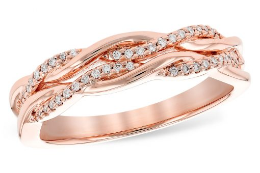 14k Rose Gold Band with double twisted row of diamonds intertwined with high-polished 14k bands. Diamonds totaling .12 carat, G-H Color, SI2 clarity.