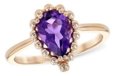 Pear Shaped Amethyst Ring in 14k Rose gold with beaded border 1.06 carat Amethyst