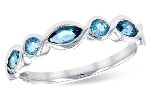 Band with 3 marquise London Blue Topaz and 2 round swiss blue topaz set every other in bezels, 14k white gold