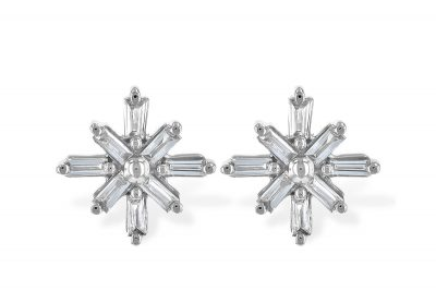 Snowflake style Baguette diamond Post earrings with .22ct diamonds, all GH SI2, 14k white gold