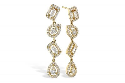 Four drop post earrings with Baguette and Pear shaped diamond alternating at scattered angles, each framed in a halo of diamonds in 14k yellow gold..70ct total diamonds