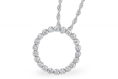 Open Circle Diamond pendant with round accenting diamonds totaling .50ct on 18 inch rope chain with lobster clasp, 14k white gold