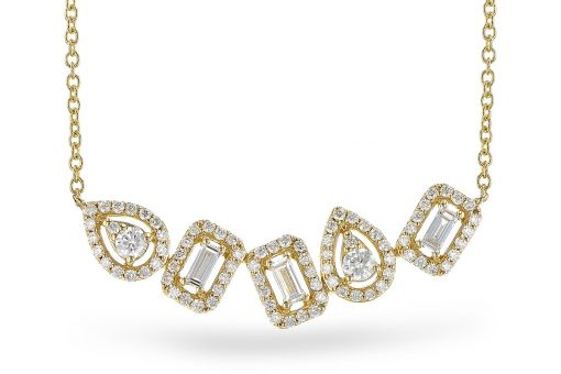Necklace with center station of diamonds set into curve with pear shapes and rectangular shapes, all diamonds totaling .55 carat, G-H color grade and SI2 clarity, 14k yellow gold 18 inches with trigger clasp. There are five fancy shaped diamonds, each shaped in a halo of round diamonds