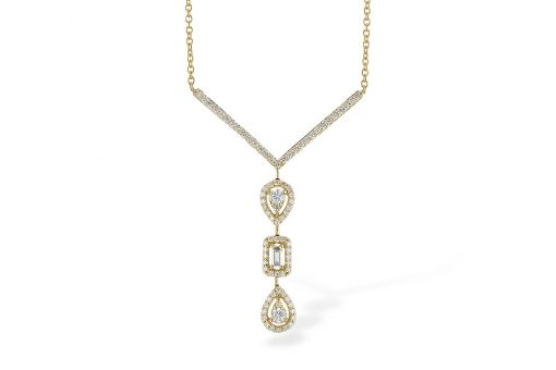 """Multi shaped 14k yellow gold drop pendant with three alternating pear and baguette shaped diamonds, each framed in a halo of diamonds. The three sections hang vertically from a """"V"""" shaped row of prong set diamonds. .54ct total"""